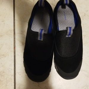 Lands End Black Suede Slip on Boys Sneakers